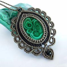 Macrame Necklace Pendant Cabochon Malachite Stone Cotton Waxed Cord Handmade #Handmade #Wrap