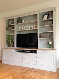 17 DIY Entertainment Center Ideas and Designs For Your New Home - EnthusiastHome - New Solid Pine & Oak Welsh Dresser TV Unit Stand Cabinet Painted Shabby Chic Built In Cabinets, Built In Shelves, Built Ins, Tv Cabinets, Built In Tv Wall Unit, Kitchen Cabinets, Wall Units For Tv, Alcove Tv Unit, Built In Tv Cabinet