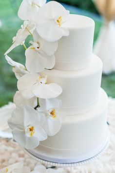 wedding cake idea; photo: Leila Brewster via Style Me Pretty Cool Wedding Cakes, Beautiful Wedding Cakes, Hawaiian Wedding Cakes, Wedding Cakes With Flowers, White Wedding Cakes, Creative Wedding Cakes, Beautiful Cakes, Orchid Cake, Orchid Wedding Cake
