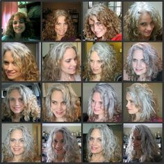 GGG Robin Smith 21 month transition. She has lovely long, curly but this gives a good example of growing out coloured hair and embracing your natural grey.