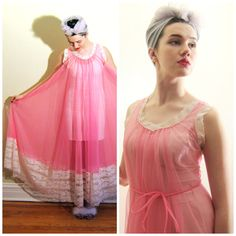 Vintage 1960s Hot Pink Sheer Nightgown / 60s Sleeveless Pink Nylon and White Lace Negligee / XL by BasyaBerkman on Etsy