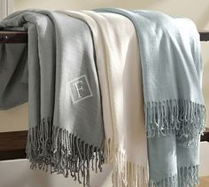 Monogrammable Oversized Throw - Love how huge this blanket is! Perfect for snuggling together, and the monogram is such a perfect touch! Love the color options too - light grey, ivory, and blue are all pretty!