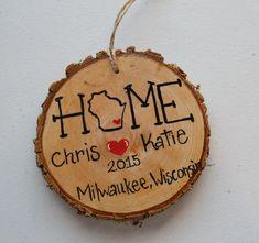 Wood Tree Slice Christmas Ornament Couples by GretasHandmadeGifts