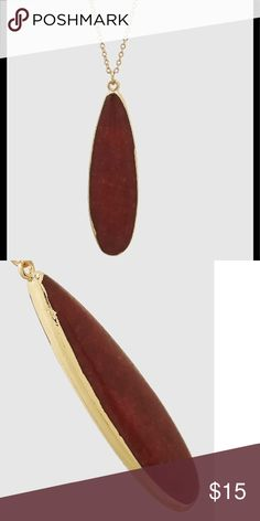 """Long Teardrop Natural Stone Necklace Brand new  30"""" with a 3"""" extender  gold and red. The red is a deep red color Jewelry Necklaces"""