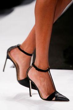 Carolina Herrera Spring 2014 Black Ankle Strap Sandal Spring 2014 #Shoes #Heels