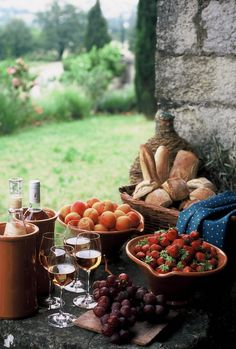 Picnic in French countryside.