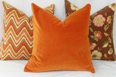 """Pumpkin spice velvet pillow cover. 18"""" x 18"""". 20"""" x 20"""". 22"""" x 22"""". 24"""" x 24"""". 26"""" x 26"""". lumbar sizes. Robert Allen exquisite velvet."""