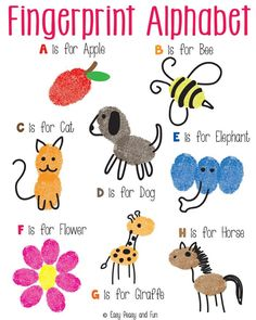 This would be a fun book to work on as children learn the alphabet! Fingerprint Alphabet Art - Easy Peasy and Fun Alphabet Crafts, Alphabet Art, Learning The Alphabet, Letter A Crafts, Alphabet Games, Toddler Alphabet, Alphabet Drawing, Toddler Crafts, Crafts For Kids