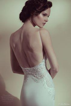 flora bridal 2014 elian sheath wedding dress spaghetti straps lace bodice back view