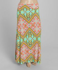 64c766f08b Look at this #zulilyfind! Green & Pink Paisley Maxi Skirt - Plus by