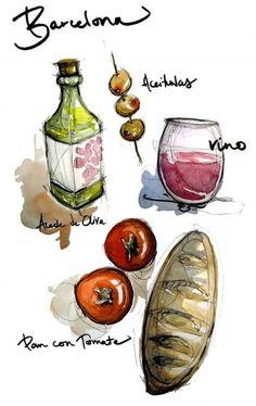 Barcelona food illustration