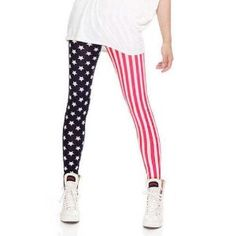 LOCOMO Women American US Flag Star Pattern Vertical Striped Legging FFT121
