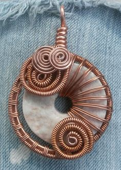 Copper Freeform Wire Wrap Pendant with Peach and Grey Rough Cut Marble Wire Wrapped Jewelry Handmade Rustic