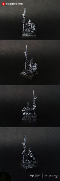 Night Goblin painted with Andrea black paint set, but a Polish person I believe. A study in highlighting black using paints not seen much in North America, I believe they are Italian... You can buy the paints online.