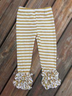 2T Gold & White Stripe Icing Legging - Ruffled Legging