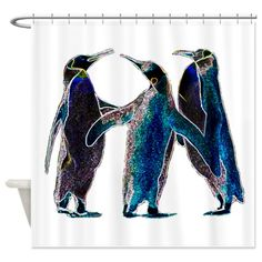 Neon Penguins Shower Curtain on CafePress.com