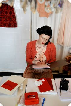 Via Colette Patterns blog. Wow... I wish I had this exact outfit. And desk. And skirt hanging in the corner.