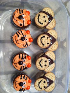 Tiger and monkey cupcakes... Using m&ms, vanilla sandwich cookies, and store bought icing. Cute and easy!!!