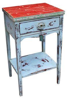 Overhauled Yardstick & Chrome Telephone Table