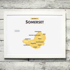 Lovely map of Somerset county, England, UK