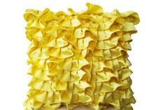 "Yellow Pillowcases in Fun Flirty Ruffles Design - Decorative Throw Pillow Cover in Yellow Satin - Handmade Sateen Pillowcovers - Sunshine Bright Yellow Throw Pillows (12""x12"") Amore Beaute http://www.amazon.com/dp/B00KM6JTEU/ref=cm_sw_r_pi_dp_cW.Utb0F3B99KP0X"