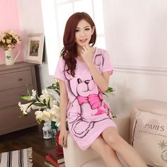 bd6db2b82 Dandeqi Summer Women s Nightgowns Short-sleeve Dress Cute Girls Sleepwear  Cartoon Bear Printed Sleepwear Free
