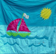 sailboat quilt baby quilt applique quilt art by marylandquilter, $75.00