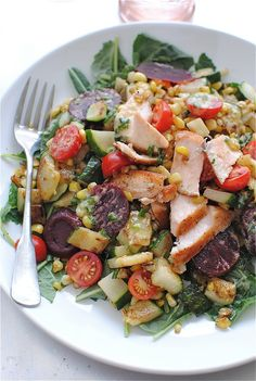 Seared Salmon Salad with Kale and Garden Vegetables / Bev Cooks