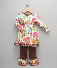 Take a look at this White & Brown Zoo Tunic & Pants - Toddler & Girls by AnnLoren on #zulily today!