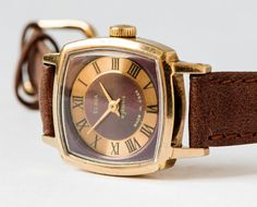 Vintage women's watch Soviet wristwatch gold plated by SovietEra, $58.00