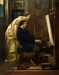 Alfred Stevens - 1823-1906 - the Painter and his Model