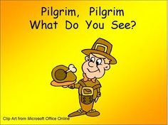"This PowerPoint is a great way to practice shared reading with young readers. This story uses a predictable pattern, ""Pilgrim, Pilgrim, what do you see?"" to support emerging readers.    This story includes several important Thanksgiving vocabulary words, such as Pilgrim, Native American, mayflower, and cornucopia. $"
