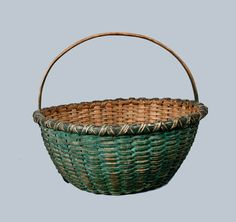 Green-Painted Splint Basket, American, 19th century
