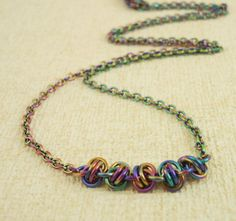 Twist of Fate Chain Necklace - Peacock Niobium Chainmaille. $45.00, via Etsy.
