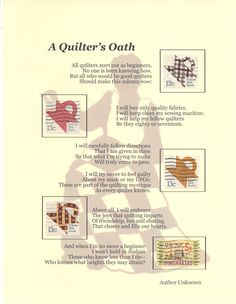 A Quilters Oath. via vroomans quilts Quilting Room, Quilting Tips, Quilting Projects, Sewing Humor, Quilting Quotes, Sewing Quotes, Quilt Labels, Sewing Studio, Quilt Tutorials