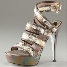 $221  Rene Caovilla Multicolor Strappy Platform Sandal
