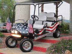 Custom Golf Carts  -- Custom Painted Flag Limo Cart Mobiles, Beach Cart, Custom Golf Carts, Mini Trucks, Limo, Red White Blue, Custom Paint, Golf Bags, Custom Cars