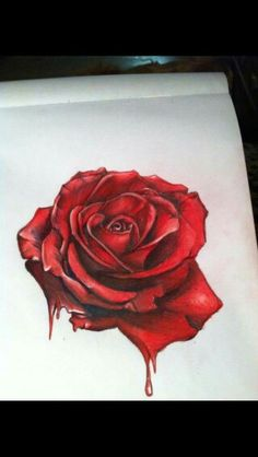 just a bleeding rose, im gonna add a rotting green skull morphing off of it when i get a chance i think reference here [link] hyper surrealistic rose Rose Drawing Pencil, Red Rose Drawing, Realistic Rose Drawing, Rose Drawing Tattoo, Color Pencil Art, Tattoo Drawings, Rose Tattoos, Flower Tattoos, Butterfly Tattoos