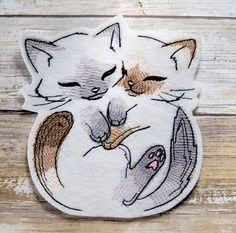 This pair of cute Kittens is snuggly and cute. The grey and brown make use of negative space to create a playful design.   Size: Small: 3.54w x 3.86h (90 x 98mm) Medium: 4.84w x 5.28h (123 x 134mm) Large: 5.83w x 6.38h (148 x 162mm) X-Large: 6.89w x 7.52h (175 x 191mm)  ~Size Medium Pictured~  This Embroidered Patch can be added to almost anything. Use your imagination and create your own style by adding this patch to your favorite item. The design is embroidered with thousands of stitches…