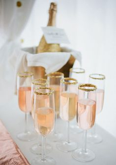 Rose and Gold / Champagne Drink with Gold Sugar Rim