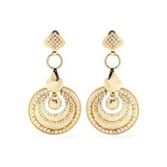 La DoubleJ mytheresa.com Exclusive Embellished Gold-Tone Earrings by... ($1,680) ❤ liked on Polyvore featuring jewelry, earrings, joias, gold, versace jewellery, goldtone jewelry, gold colored jewelry, versace and gold tone earrings