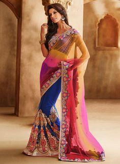 Splendid Blue N Multicolor Half N Half Saree