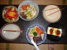 just some sashimi on rise with tofu and salad
