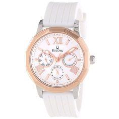 Bulova 98N101 Women's Casual Sport Rose Gold Bezel White Dial White Rubber Strap Watch