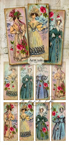 FASHIONABLE WOMEN - Bookmarks Digital Collage Sheet Printable Vintage Paper Craft Fashion Tags Jewelry Holders