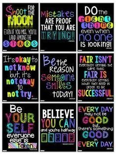 Motivational Quotes Posters for the Classroom {Neon Decor Set} Classroom Bulletin Boards, New Classroom, Classroom Setting, Classroom Posters, Neon Classroom Decor, Bulletin Board Ideas For Teachers, Quotes For The Classroom, Classroom Ideas, Kindergarten Classroom