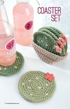 Make A Crochet Garden - 9 Stylish Projects for Succulents, Cacti & Flowers -   coaster set