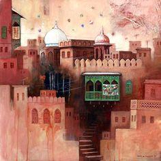 indigenousdialogues: Pakistani artist, G. Pakistan Art, Acrylic Painting Lessons, Truck Art, Building Art, Arabian Nights, Islamic Art, Indian Art, Ramadan, Art Projects