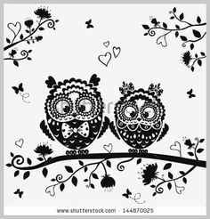 black and white illustration vintage owl fairy tale 144870025