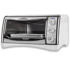 The Black & Decker Perfect Broil Toaster and Countertop Oven is large enough to accommodate a 12-inch pizza. It is packaged with a reversible chrome broiling rack. There are two different rack positions so you can fit taller foods inside the oven. With a range of cooking functions you can use it to bake, broil, or toast bread. There is also a keep warm function in case you need to reheat something that's already cooked. You can adjust the oven temperature up to 450 degrees Fahrenheit.